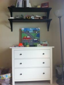 Leopold's new dresser and art work.