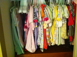 But seriously, I have all the clothes organized and into the closet and dressers in the nursery. We got a ton of 0-3 and 3-6 month hand me downs so we should be set for a while depending on how quickly lady baby grows.