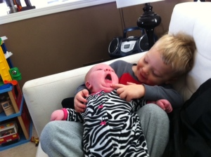 sweet little newborn yawn.