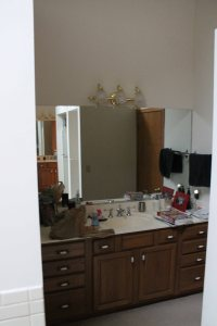 This is C's sink in our bathroom, I have one just like it and we each have our own walk in closet.
