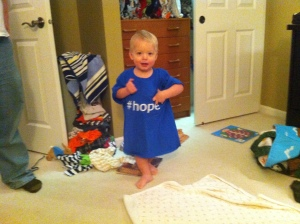 The first time Leopold tried the #hope tee on.